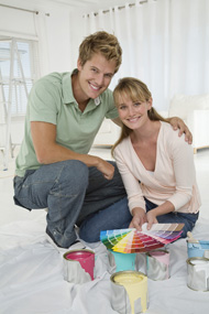 Happy Couple Selecting Color Frames